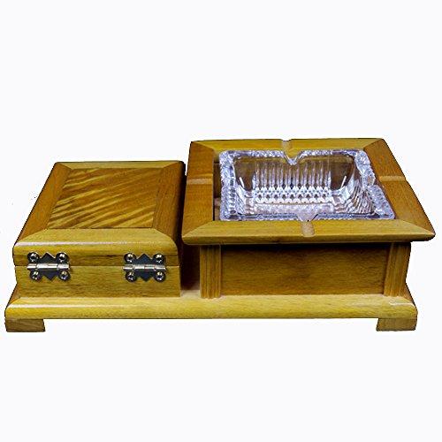 Cenicero de Vidrio de Madera Maciza Nan de Hoja Grande con Almacenamiento de cajones Especial
