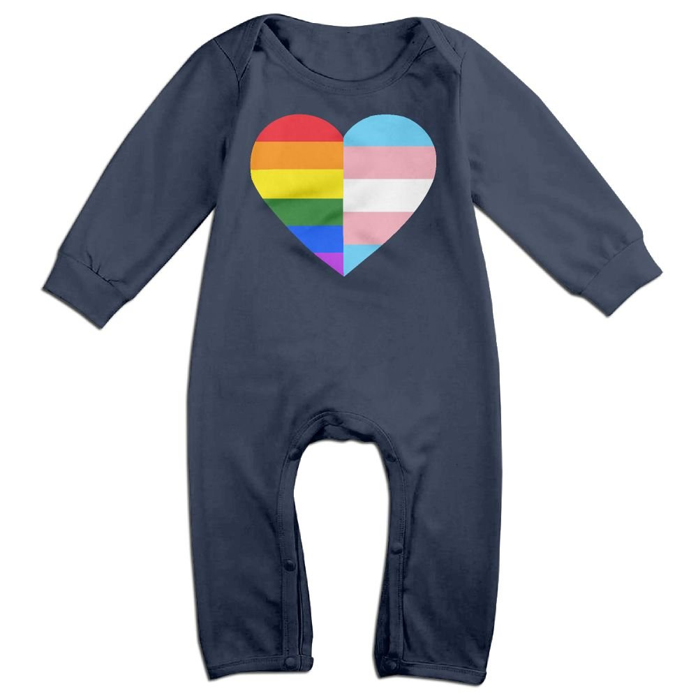 Mri-le1 Baby Boy Girl Jumpsuit LGBT Rainbow and Transgender Flag Heart Toddler Jumpsuit