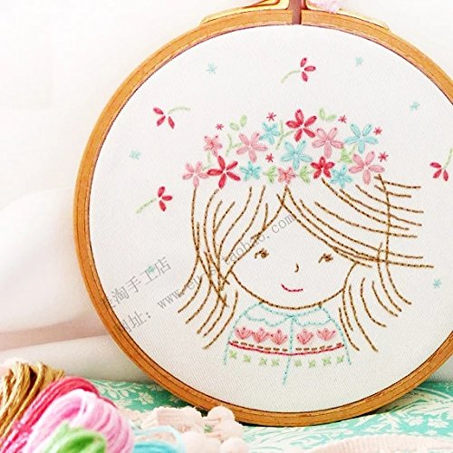 Floral Cross Kit (Embroidery Kit For Beginner A Smiling Floral Girl Design Pre-printed)