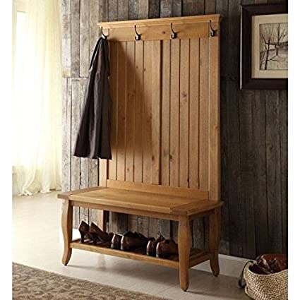 Amazoncom By Home Design Entryway Bench Coat Rack Antique Pine