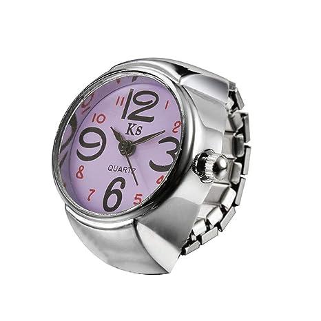 Simple Anillo Reloj Cuarzo de Anillo de Dedo Joyería Reloj Digital para Mujer Señora