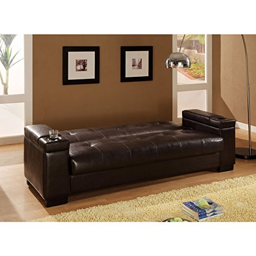 Coaster brown vinyl sofa bed cup holders and storage in for Coaster transitional styled sectional sofa sleeper in brown