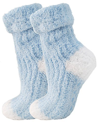 Ladies Gorgeous Soft Fluffy Baby Blue Non Slip Bed Socks Slippers Fits Sizes UK 4-7