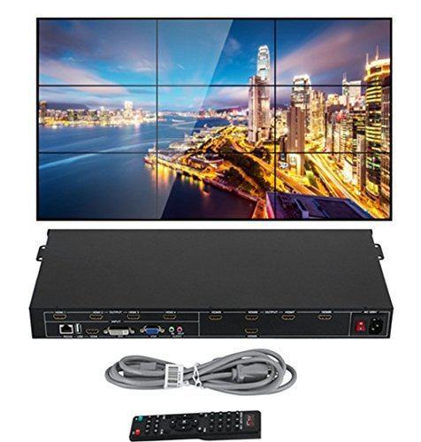 Happybuy 3x3 3x2 2x2 3x1 Video Wall Controller Splicer HDMI DVI VGA 1080P Video Wall Processor splitter with 1 HDMI Input and 9 HDMI Outputs Matrix Switcher for Perfect Visual Experience 9 Input Video Processor