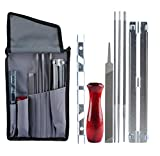 Chainsaw Sharpener File Kit for Stihl Sharpening Filing Chainsaws & Other Blades - Include 5/32 3/16 & 7/32 Inch Files, Wood Handle, Depth Gauge, Filing Guide & Tool Pouch