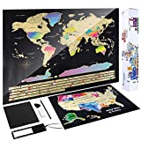 Scratch Off Map of The World - (2-in-1) World Map with Scratch Off USA Map, Gift Messaged Box + Storage Pouch with Bonus Tools - 23.4' x 16.5', Gift Box