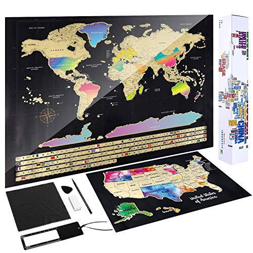 - Scratch Off Map of The World - (2-in-1) World Map with Scratch Off USA Map, Gift Messaged Box + Storage Pouch with Bonus Tools - 23.4