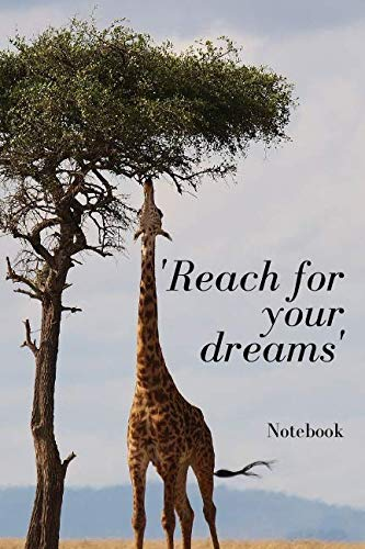 T-shirt Notepads - 'Reach For Your Dreams': Blank 120 Page Lined Journal Notebook or Diary - Giraffe Notebooks And Journals - Giraffe Gifts | 120 Pages | 6x9