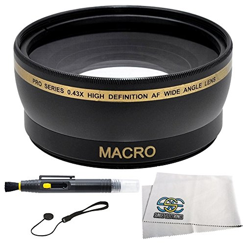 .43x Wide Angle Lens Kit for CANON Rebel (SL1 T5i T4i T3i T3 T2 T2i T1i XT XTi XSi XS), CANON EOS (1100D 650D 600D 550D 500D 450D 400D 350D 300D 60D 5D Mark III 6D 7D 70D) Which have any of these - 18-55mm, 55-250mm, 75-300mm III, 70-300mm IS USM, 24mm f2.8, 28mm f1.8, 50mm f1.4, 65mm f2.8, 85mm f1.8, 90mm f2.8, 100mm f2, 100mm f2.8 Canon Lenses. Includes: 0.43X Super Wide Angle (with Macro) High Definition Lens, Lens Cap Keeper, Lens Cleaning Pen & Cleaning Cloth