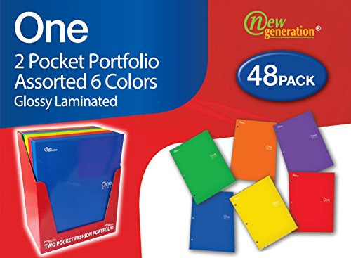 Assorted Pockets Displays (New Generation - One - 2 Pocket Folder / Portfolio Heavy Duty 3 Hole Punch - 48 Folders per Pack in Display Box Assorted 6 Fashion colors UV Glossy)