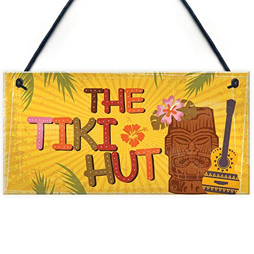 Meijiafei Tiki Hut Hanging Home Bar Pub Kitchen Plaque Alcohol Cocktails Welcome Sign Friend Gift 10