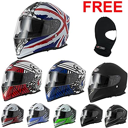 VCAN V127 Full Face Double Sun Visor Motorbike Motorcycle Helmet Hollow Black XL