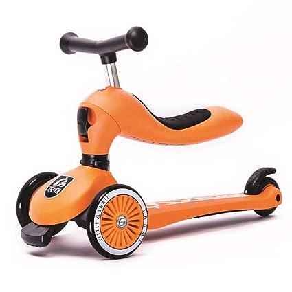 Scooter 3 en 1 con asiento extraíble, Scooter de patinaje de 3 ruedas para niños y ...
