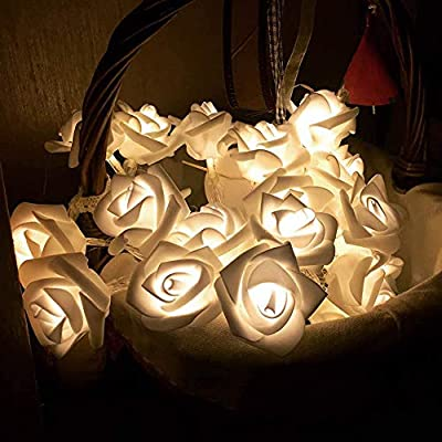 Efanr Romantic Rose Design 20 LED String Lights Fairy Light Ornament Lamp Christmas Wedding Decor Party Decoration Ambient Mood Lighting Night Romantic Lantern for Holiday Patio Outdoor