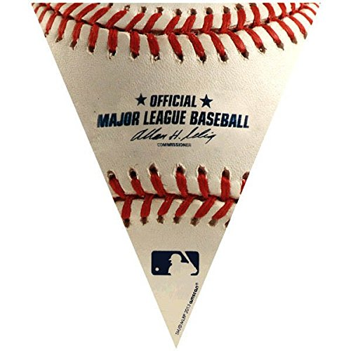 Amscan Timeless Rawlings Baseball Generic Pennant Banner, 1 Piece, Made from Plastic, Birthday/ Victory/ Tailgate Party, 12 feet