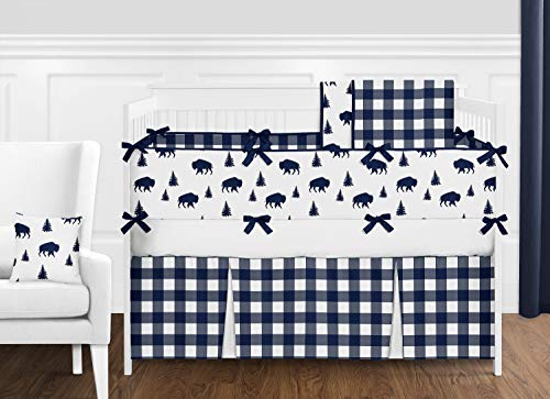 Blue Gingham Crib Bedding - Navy Blue and White Rustic Country Buffalo Plaid Check Baby Boy Crib Bedding Set with Bumper by Sweet Jojo Designs - 9 Pieces