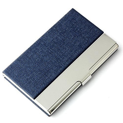 Partstock Unisex Business Name Card Holder 304 Stainless Steel & PU Leather Credit Card Case / ID Case.Keep Your Business Cards Clean,Perfect Gift - Blue
