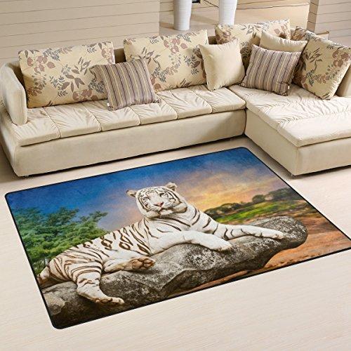 Tiger Pattern Print Area Rug Carpet Floor Mat For Dining Room Living Room Bedroom,Size 2'7