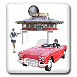 3dRose Boehm Graphics Food - Classic Car Dining Restaurant - Light Switch Covers - double toggle switch (lsp_274684_2)