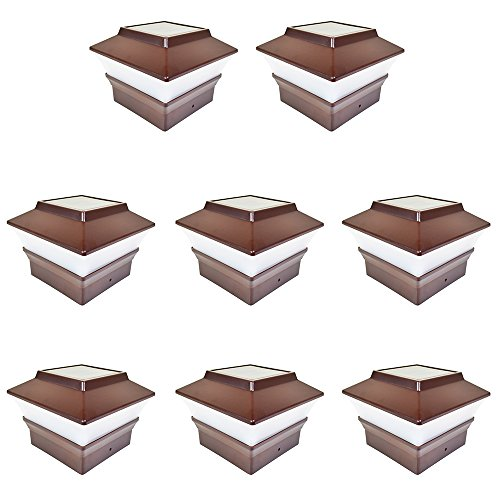 iGlow 8 Pack Brown Outdoor Garden 4 x 4 Solar LED Post Deck Cap Square Fence Light Landscape Lamp Lawn PVC Vinyl Plastic