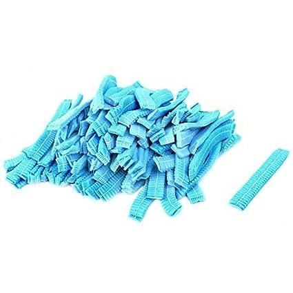 eDealMax No Tejido elástico de la ducha del baño desechables Pelo 100PCS el casquillo Azul