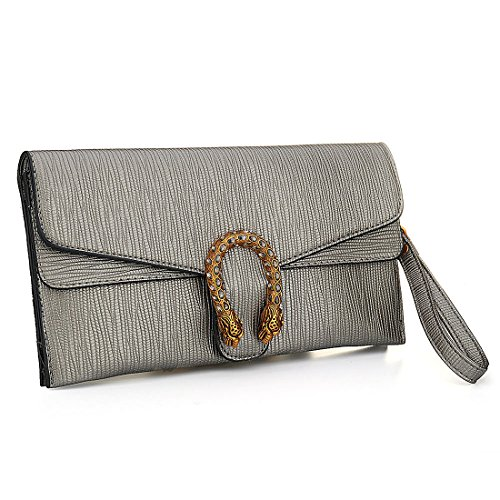 KNUS Leather Crossbody Purses Clutch Phone Wallets with Card Slots for Women (Antique bronze (Antique Evening Bags)