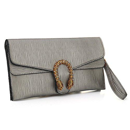 Handbag Women with Slots Grey Bag Purses Leather IBELLA Wallets Phone Crossbody Clutch Card O1xT1dq