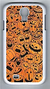 Galaxy S4 Case, Personalized Protective Hard PC White Edge Pumpkin Bg Case Cover for Samsung Galaxy S4
