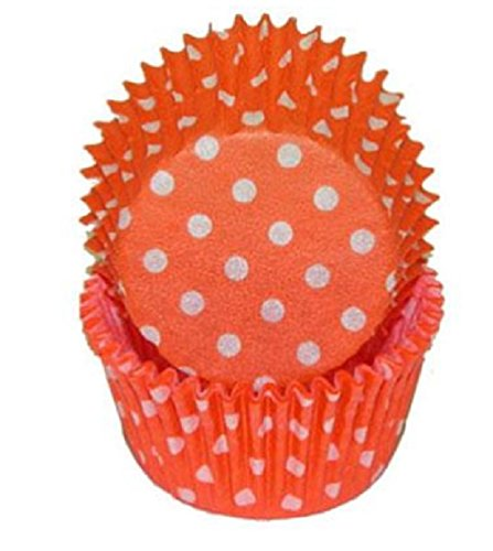 Orange Polka Dot Cupcake Liners STD 50 count