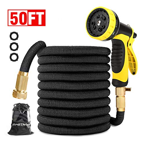 Garden Hose 50FT-Expandable Water Hose with Double Latex Core, 3/4″ Solid Brass Fittings, Extra Strength Fabric -Flexible Expanding Hose with Metal 9 Function Spray Nozzle for Outdoor Lawn car