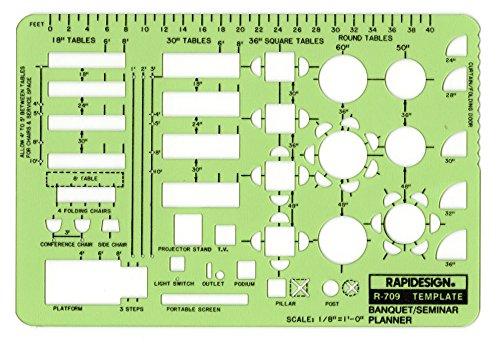 Rapidesign 1/8 Inch Banquet/Seminar Planner Template, 1 Each (Planner Template)