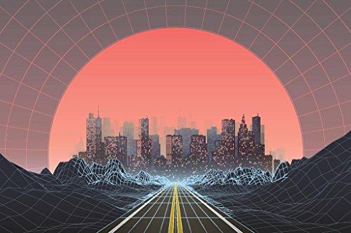 1980s Style Retro Digital City Landscape Sunset Poster 24x36 inch