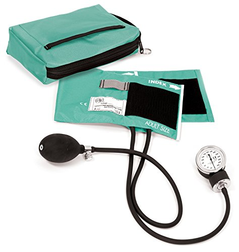 Prestige Medical Premium Aneroid Sphygmomanometer with Carry Case, Aqua Sea