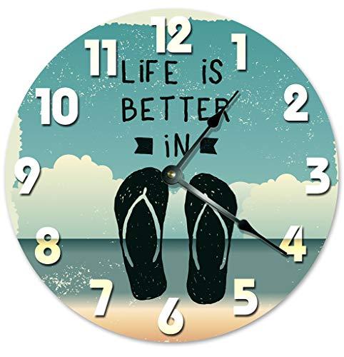 Sugar Vine Art Life is Better in FLIP Flops Beach Clock Large 10.5