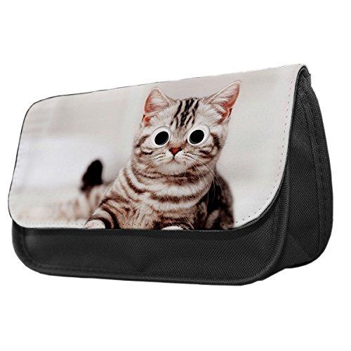 Grau Kätzchen Googley Augen Tier Bleistift Fall/Make-up Tasche 142