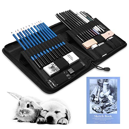 GHB 41 Pcs Sketching and Drawing Pencils Set Graphite Charcoal Pencils Set Professional Art Set with Sticks Tools and Pop-Up Stand Zippered Carry Case with Sketch Book