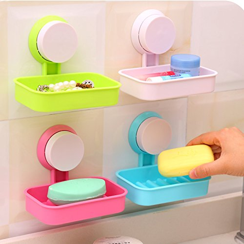 BIN BON - New Soap Dish Strong Suction Cup Wall Tray Holder Soap Storage Box For Bathroom Shower Tool