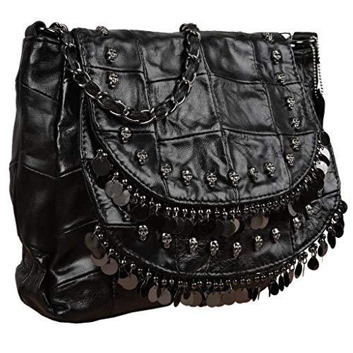 YALUXE Women's Skull Studded Bling Tassel Lambskin Leather Purse Cross Body Shoulder Bag Black 1 ()