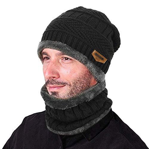 Invierno Gorros de Punto con Bufanda de Hombre Conjunto de Bufanda Sombrero con Forro de Lana para Hombre de Invierno negro