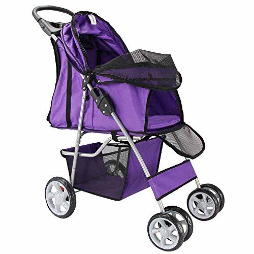 OxGord-4-Wheel-Folding-Pet-Stroller-for-Cat-and-Dog-Lavender-Purple