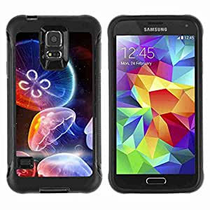 A-type Arte & diseño Anti-Slip Shockproof TPU Fundas Cover Cubre Case para Samsung Galaxy S5 V / SM-G900 ( Colorful Jellyfish )