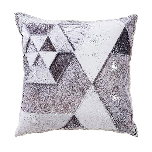 (DECOMALL Wild Faux Cowhide Patchwork Soft Geometric Print Decorative Square Throw Pillow Cover for Sofa Couch Bedroom Living Room, 20x20 inches, Grey)