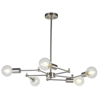 VINLUZ Modern Sputnik Chandelier 5 Lights Brushed Nickel Mid Century Modern Chandeliers Ceiling Kitchen Lights Fixtures UL Listed