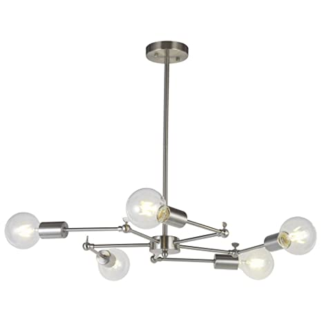 Vinluz sputnik chandelier lighting 5 lights brushed nickel mid vinluz sputnik chandelier lighting 5 lights brushed nickel mid century modern chandeliers ceiling kitchen lights fixtures aloadofball Images