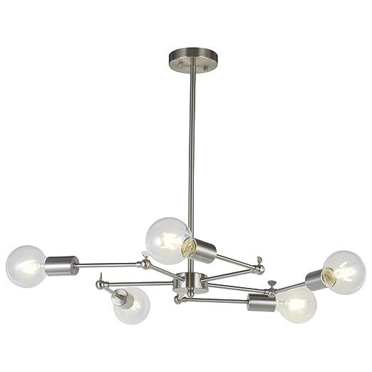 VINLUZ Sputnik Chandelier Lighting Lights Brushed Nickel Mid - Kitchen light fixtures amazon