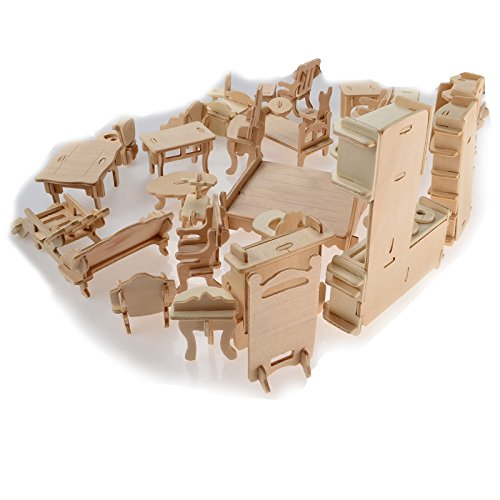 BOHS 1SET=34PCS Dollhouse Furnitures -Wooden 3D Puzzle - Scale Miniature Models Doll House DIY Accessories
