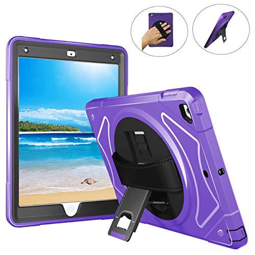 (Heavy Duty iPad Case 9.7 - iPad Air 2 Case - Hand Strap, Heavy Duty Hardback, 360 Rotating Kickstand, Shockproof, KidsProof, Scratchproof - A1566 A1567)