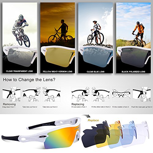 287c08f74d RIVBOS TR 90 Frame RB0805 Polarized Sports Sunglasses Sun Glasses with 5 Set  Interchangeable Lenses for