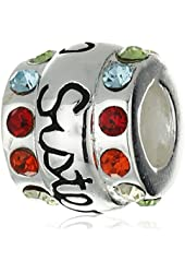 CHARMED BEADS Sterling Silver Sisters Multi-Color Crystal Bead Charm