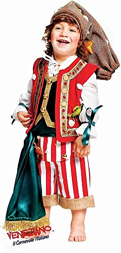 Super Deluxe Italian Made Baby + Older Boys 6 Piece Fisherman Striped Pirate Halloween Book Day Week Carnival Party Fancy Dress Costume Outfit 0-10y (1 year) -
